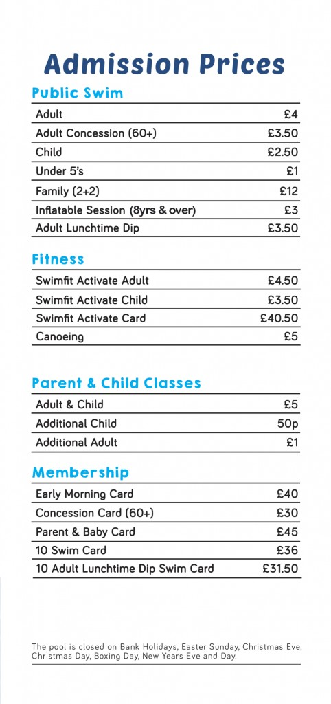 Paulton Swimming Pool 2017 Price List